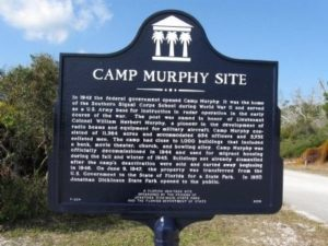 Camp Murphy Site Marker erected in 2008 by the Friends of Jonathan Dickinson State Park and The Florida Department of State (A Florida Heritage Site). (Marker Number F-624.)